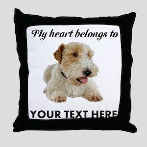 Custom Wire Fox Terrier Throw Pillow