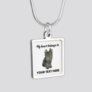 Custom Yorkshire Terrier Silver Square Necklace