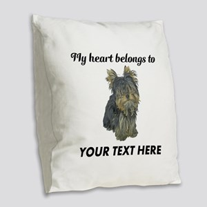 Custom Yorkshire Terrier Burlap Throw Pillow