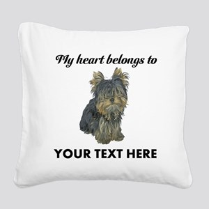 Custom Yorkshire Terrier Square Canvas Pillow