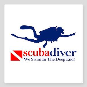 """scubadiver Square Car Magnet 3"""" x 3"""""""