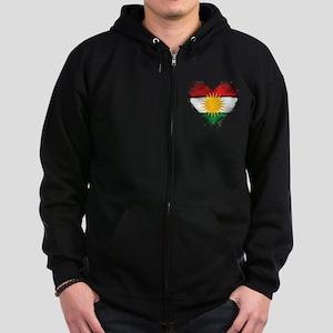 Kurdistan Heart Flag Zip Hoodie