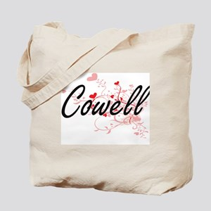 Cowell Artistic Design with Hearts Tote Bag