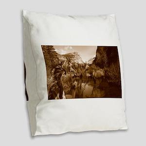 native american Burlap Throw Pillow