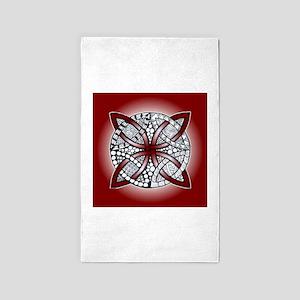 Celtic Knot Doodle Red Area Rug