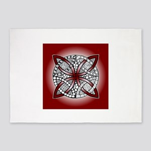 Celtic Knot Doodle Red 5'x7'Area Rug