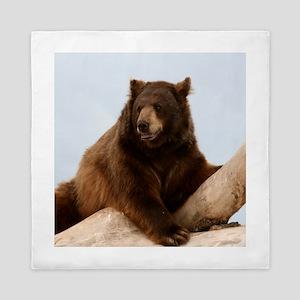 Bear on Log Photo Queen Duvet