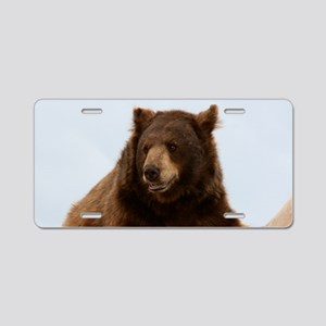 Bear on Log Photo Aluminum License Plate