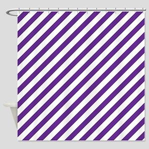 Purple White Diagonal Striped Shower Curtain