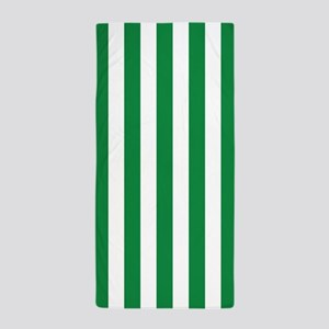 Green and White Vertical Striped Beach Towel