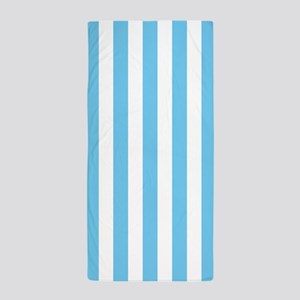 Light Blue And White Vertical Striped Beach Towel