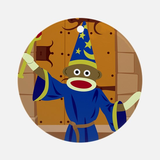 Sock Monkey Wizard Ornament (Round)