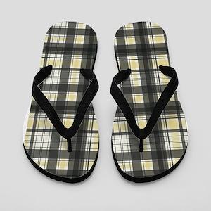 Retro Yellow Black Plaid Flip Flops