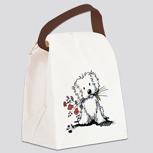 KiniArt Maltese Garden Helper Canvas Lunch Bag