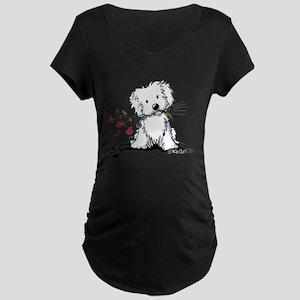 KiniArt Maltese Garden Help Maternity Dark T-Shirt