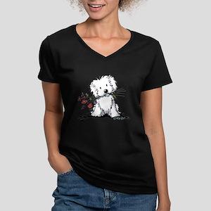 KiniArt Maltese Garden Women's V-Neck Dark T-Shirt