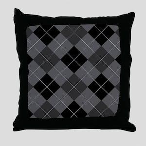 Charcoal Argyle Throw Pillow