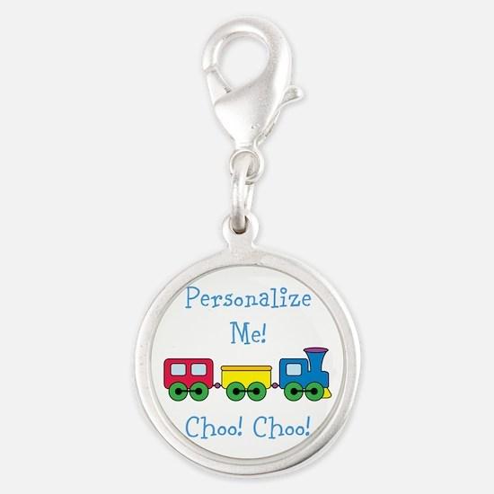 Choo Choo Train Silver Round Charm