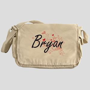 Bryan Artistic Design with Hearts Messenger Bag
