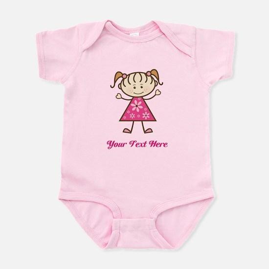 Pink Stick Figure Girl Infant Bodysuit