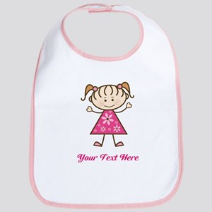 Pink Stick Figure Girl Bib