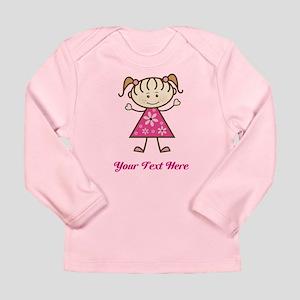 Pink Stick Figure Girl Long Sleeve Infant T-Shirt