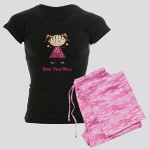 Pink Stick Figure Girl Women's Dark Pajamas