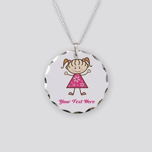 Pink Stick Figure Girl Necklace Circle Charm