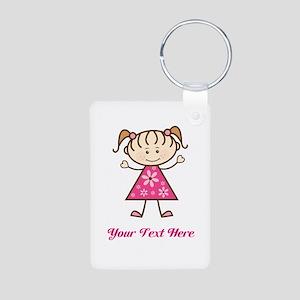 Pink Stick Figure Girl Aluminum Photo Keychain