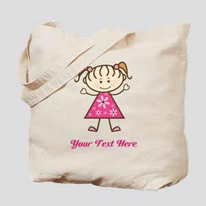 Pink Stick Figure Girl Tote Bag