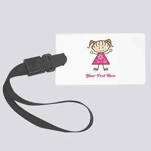 Pink Stick Figure Girl Large Luggage Tag