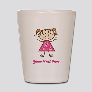 Pink Stick Figure Girl Shot Glass