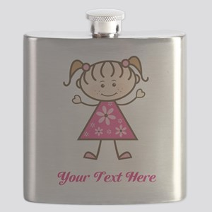 Pink Stick Figure Girl Flask