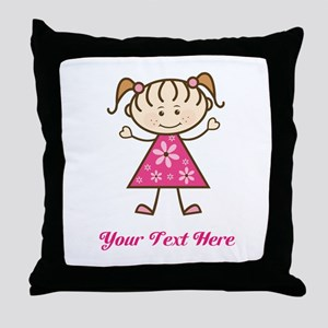 Pink Stick Figure Girl Throw Pillow
