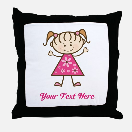 Pink Stick Figure Girl Throw Pillow
