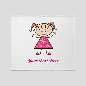 Pink Stick Figure Girl Throw Blanket