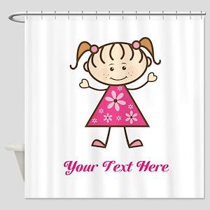 Pink Stick Figure Girl Shower Curtain