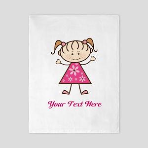 Pink Stick Figure Girl Twin Duvet