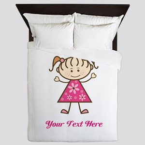 Pink Stick Figure Girl Queen Duvet