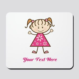 Pink Stick Figure Girl Mousepad