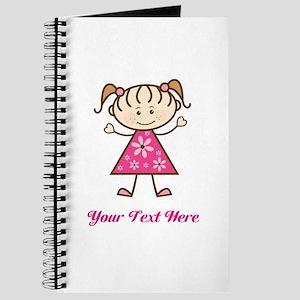 Pink Stick Figure Girl Journal