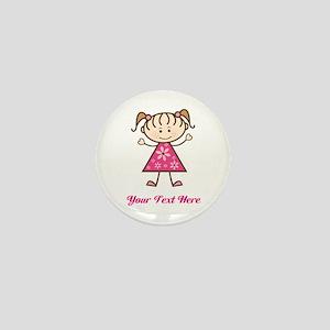 Pink Stick Figure Girl Mini Button