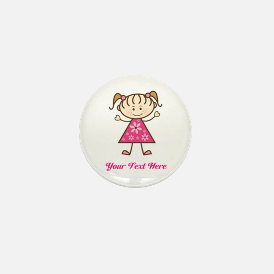 Pink Stick Figure Girl Mini Button