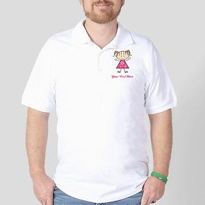 Pink Stick Figure Girl Golf Shirt