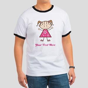 Pink Stick Figure Girl Ringer T