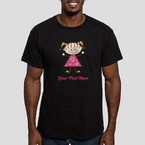 Pink Stick Figure Girl Men's Fitted T-Shirt (dark)