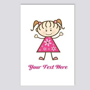 Pink Stick Figure Girl Postcards (Package of 8)