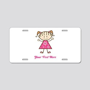 Pink Stick Figure Girl Aluminum License Plate
