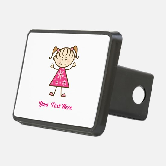 Pink Stick Figure Girl Hitch Cover