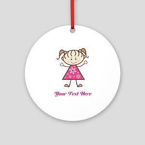 Pink Stick Figure Girl Ornament (Round)